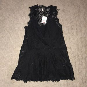 Free People Black Lace Cover Up Dress NWT